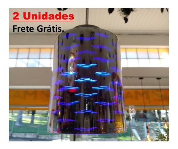 Luminária Efeito 3d, Pendente,banheiro Quarto Azul.