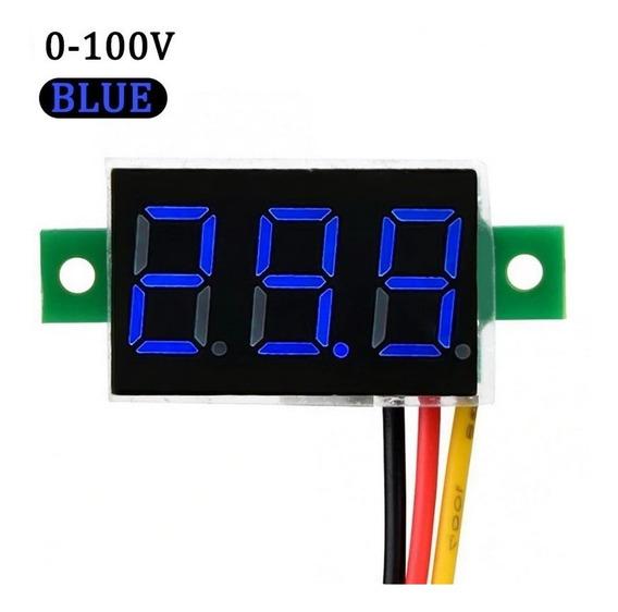 Mini Voltímetro Led Digital 3 Fios 0 - 100v. Blue/red/green