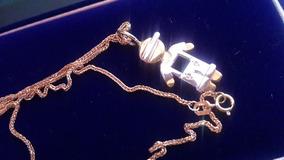 Colar De Ouro C Pigente Menino Branco E Dourado 2 Diamentes