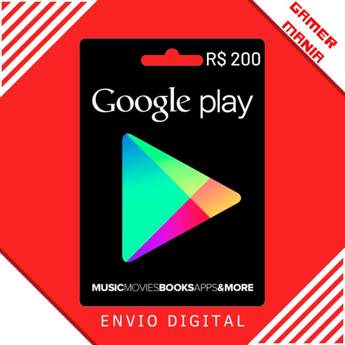 Google Play Store Gift Card R$200 Reais Android