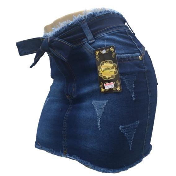 Mini Saia Jeans Desfiada Com Lycra Moda Feminina