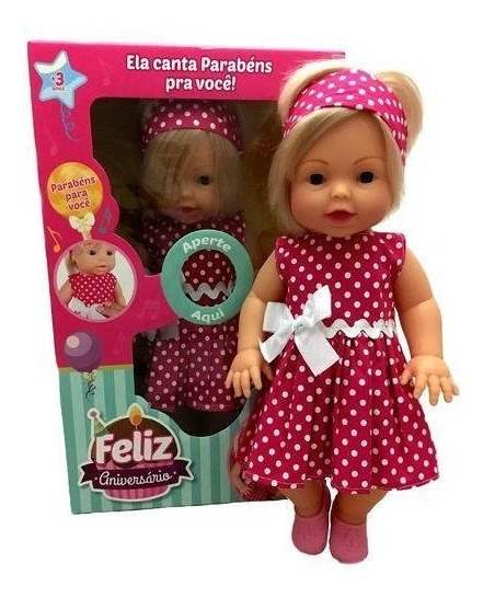 Boneca Falante Canta Parabéns Pra Você Baby Brink