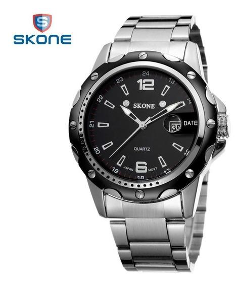 Relógio Masculino Skone Original Analógico Aço Inox Luxo