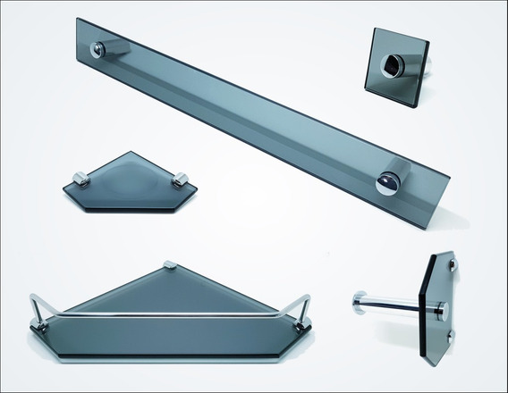 Kit De Acessórios P/ Banheiro 5 Pçs Em Vidro Fumê C603