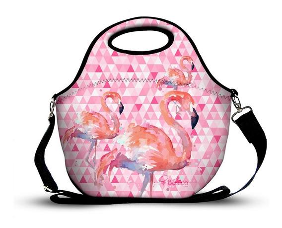 Bolsa Lancheira Em Neoprene Flamingo