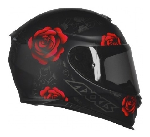 Capacete Axxis Eagle Flowers Matt Black-red