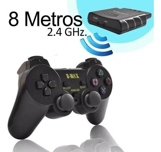 Controle Sem Fio Playstation2 2.4ghz Dualshock Analógico Preto