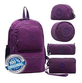Kit Bolsa Mochila Escolar Viagem Feminina Aceperch Original