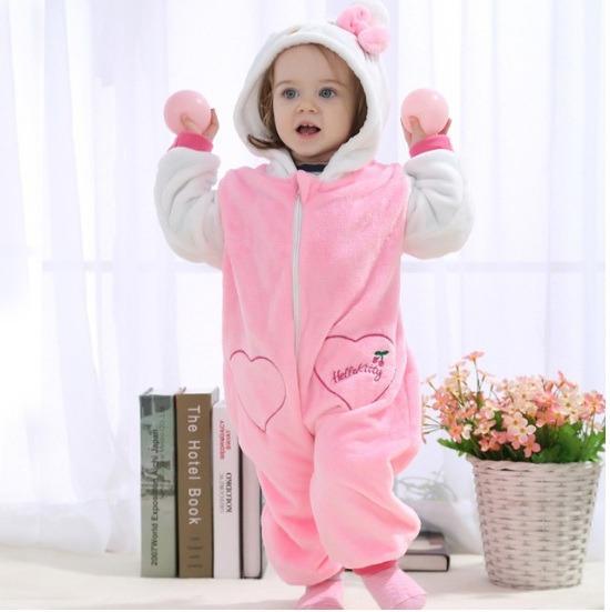 Macacão Bebê Bichinhos Desenho Fantasia Menina Hello Kitty