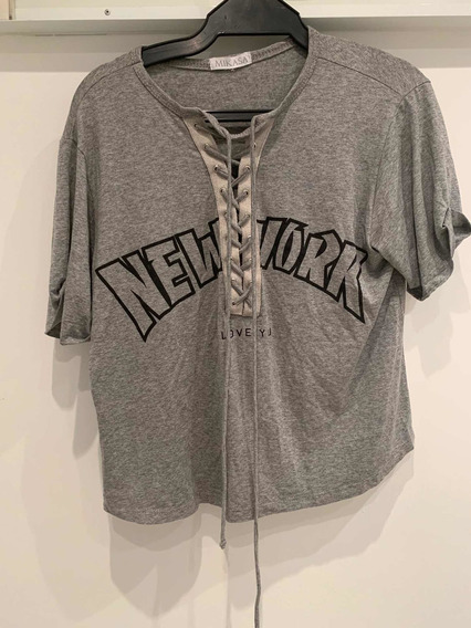Camiseta Cinza Com Estampa New York