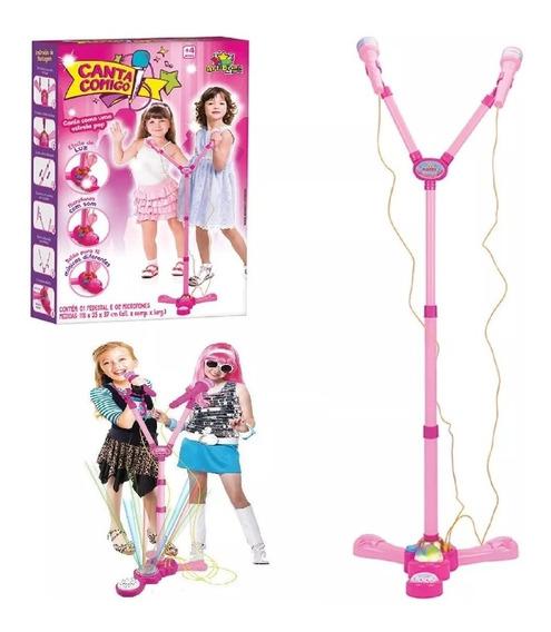 Pedestal + 2 Microfone Infantil Muscial Som Luz Canta Comigo