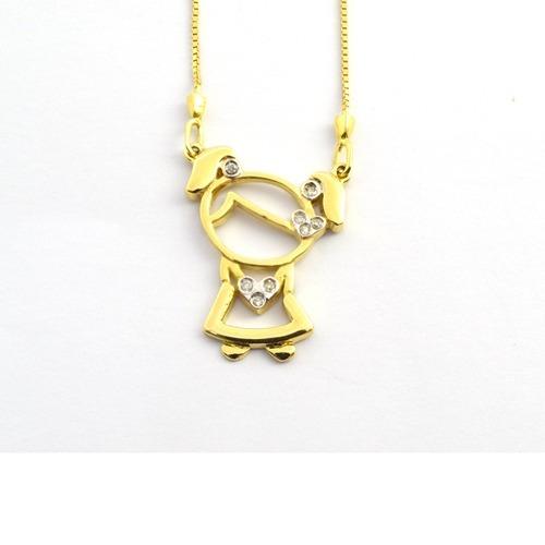Gargantilha Ouro 18k Menina Com Diamantes