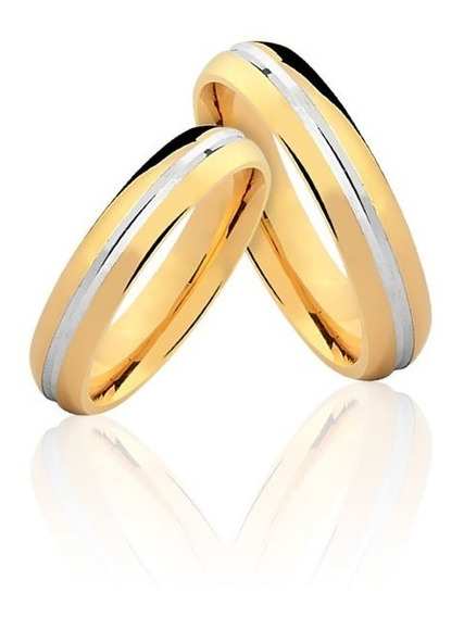 Par De Alianças De Casamento Passione Em Ouro Amarelo 18k