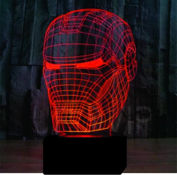Luminaria Led 3d, Homem De Ferro, Heroi, Vingadores 16 Cores
