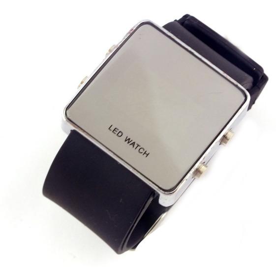 Relógio De Pulso Masculino Tela Led Pulseira Borracha B5660