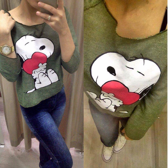 Moleton Cropped Feminino Snoopy