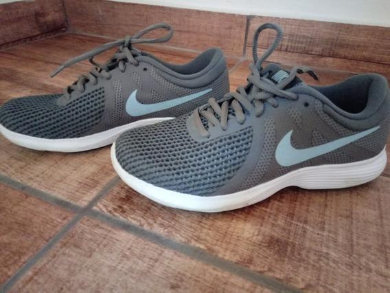 Tênis Nike Cinza E Verde Água Usado Poucas Vezes Barato T:35