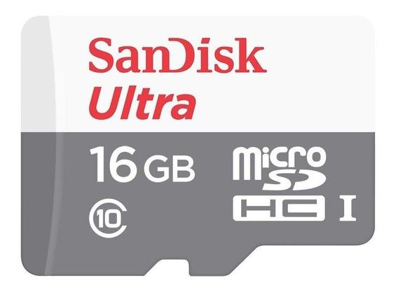 Cartão De Memória Sandisk Micro Sd 16gb Ultra Classe 10 80mb