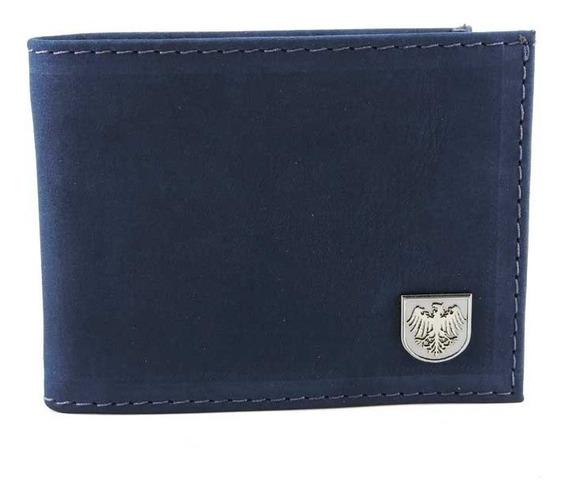Carteira De Bolso Em Couro Azul Camurça Pequena