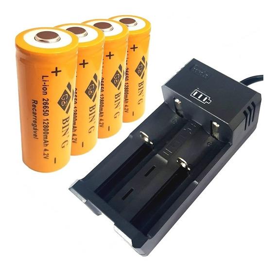 Carregador Duplo + 4 Bateria 26650 12800mah Lanterna T9 X900