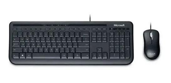 Kit Mouse E Teclado Microsoft Desktop 600 Com Fio Usb Preto