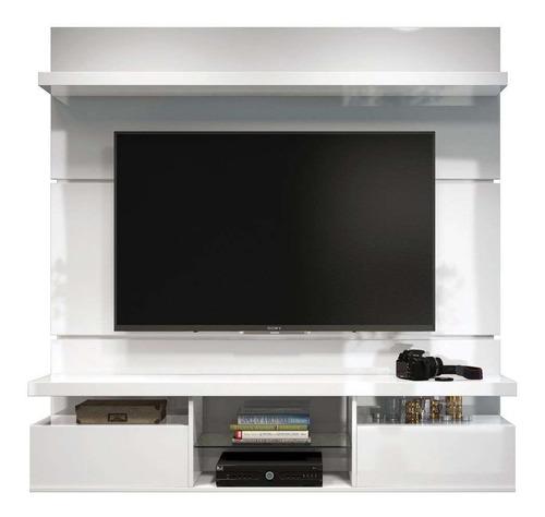 Mueble De Tv Con Panel Oculta Cables Lacado  Ref: Mural23