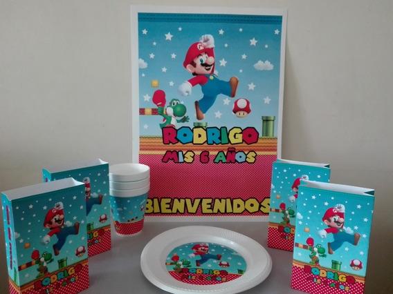 Pack Cotillón Personalizado Combo 30 Partybox Mario