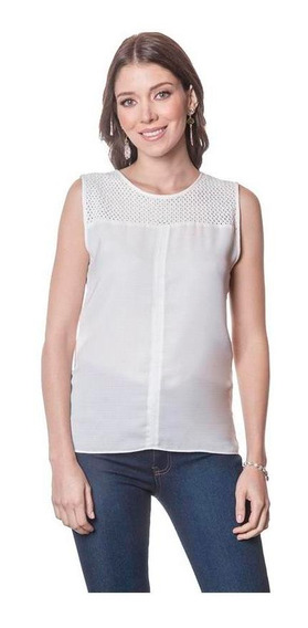 Blusa Dama Blanco Devendi Basica Con Encaje