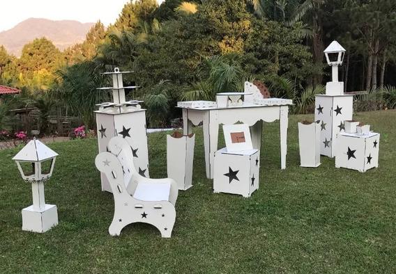 Kit Móveis Provençal Festa Aniversário Aluguel Em Mdf Branco