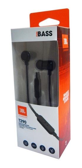Fone De Ouvido Jbl T290 Blk In-ear Com Microfone Preto