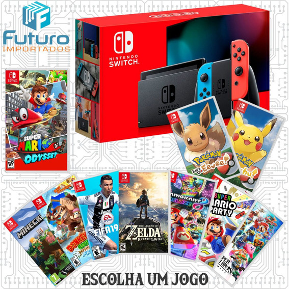 Nintendo Switch Neon + Jogo A Escolher Pokemon Zelda Mario