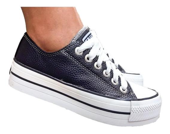Zapatillas Mujer Cuero Star Plataforma Comoda Acolchonadas