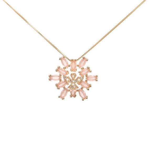 Colar Folheado Ouro 18k Espírito Santo Com Cristal Rose