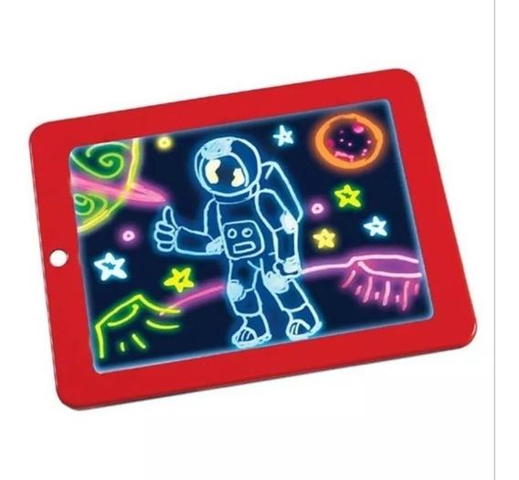 Lousa Magica Com Led Tablet Infantil Com Canetinha + Pilhas