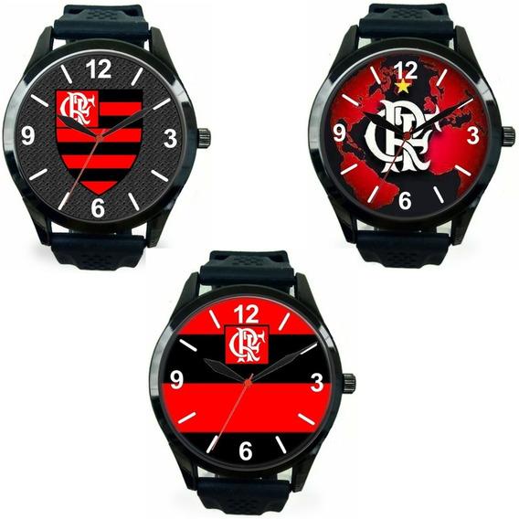 Kit 3 Relógios Esportivos Flamengo Pulso Masculino Barato Promoção Oferta Melhor Preço