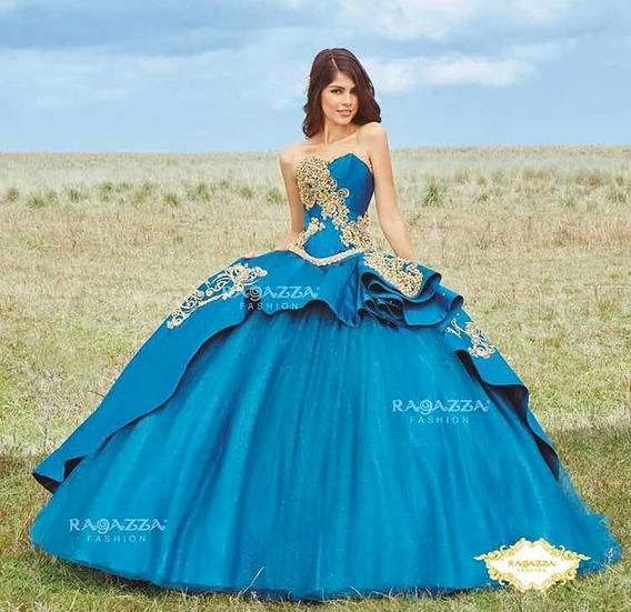 Vestido De Xv Años Ragazza B74- 374 Jade Con Oro!
