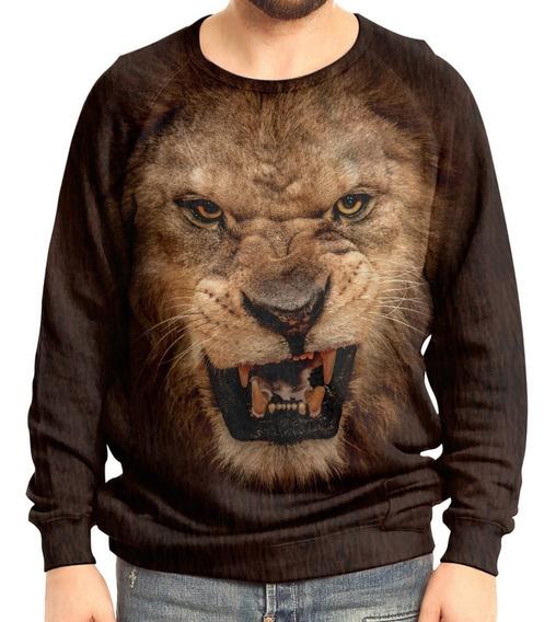 Moletom Raglan Unissex Big Face Leão