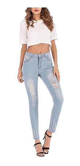 Mulheres Cintura Alta Trecho Rasgado Jeans Skinny