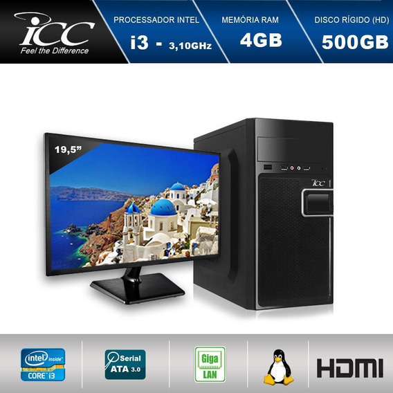 Computador Desktop Icc I3 4gb Ram Hd 500gb Monitor Led 19,5