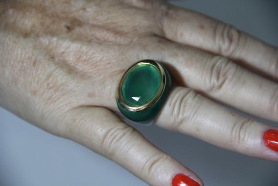 Anel Semi-joia Pedra Verde