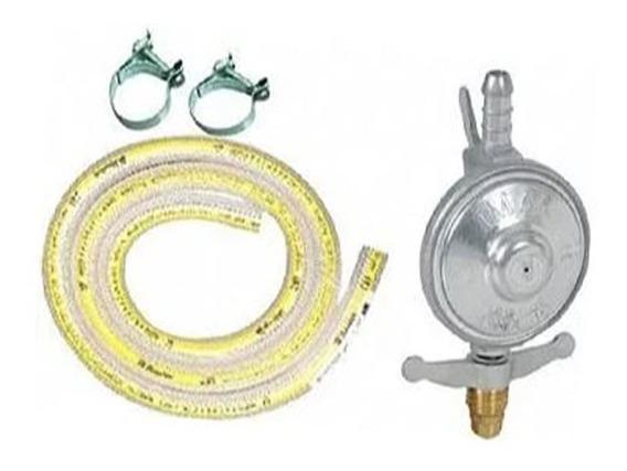Kit Registro De Gas +mangueira E Abraçadeiras Completo
