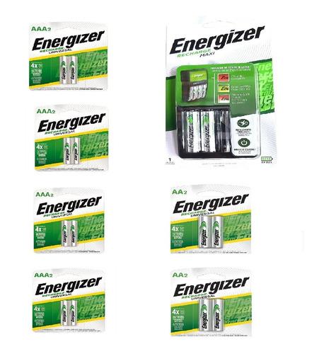 Cargador Energizer Maxi Aa Aaa + 4 Pilas Aa + 8 Pilas Aaa