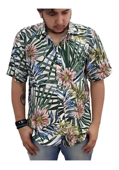 Camisa Masculina Estampa Viscose Manga Curto Moda