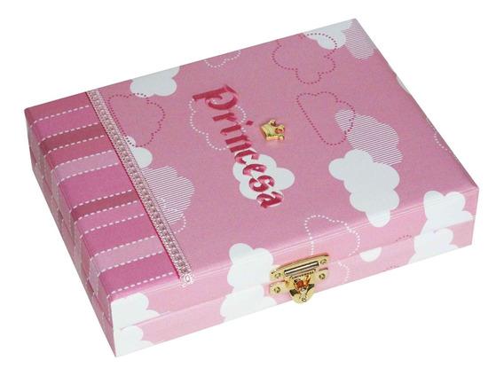 Álbum De Fotos Luxo Princesa Nuvens Rosa 100 Fotos 15x21 + Diário