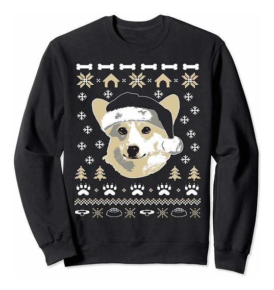 Unisex Corgi Dog Ugly Christmas Sweater Xmas Large Dark Heat