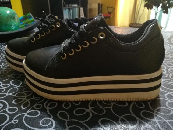 Zapatos De Nena Con Plataforma Talle 35 Negros Marca Savage