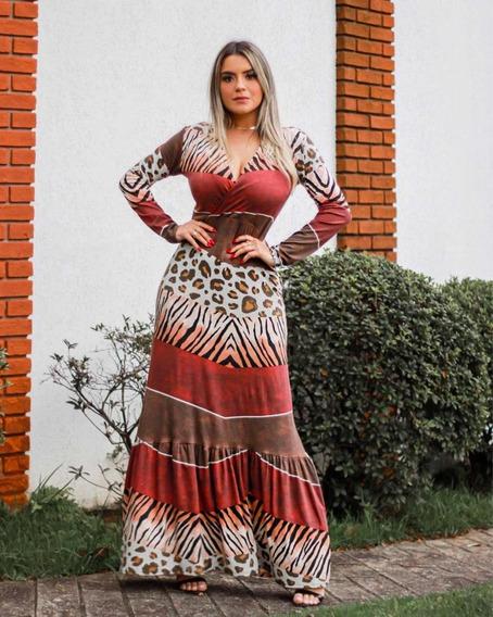 Vestido Longo Feminino Decote Em V Transpassado Evasê