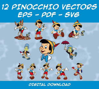 Pack Vectores Pinocho - 12 Cliparts Eps - Pdf - Svg