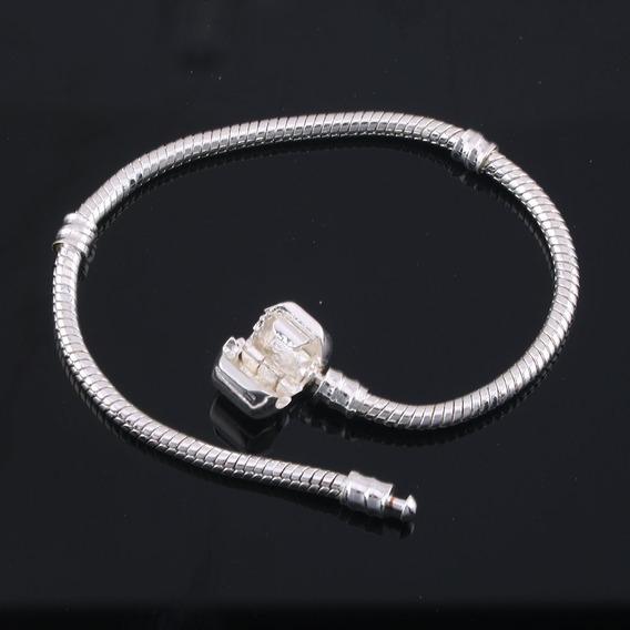 Pulseira Prata Maciça Pandora 925 Togory Charme 19cm