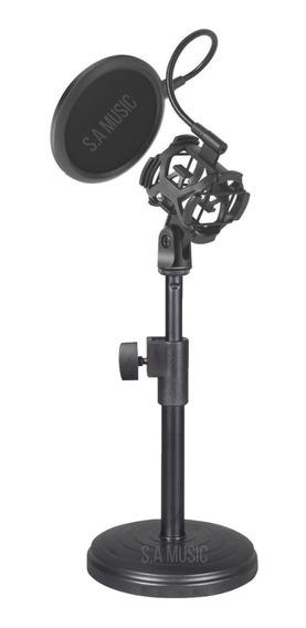 Suporte Pedestal Mesa Tripé P/ Microfones Bm800 Aranha E Pop